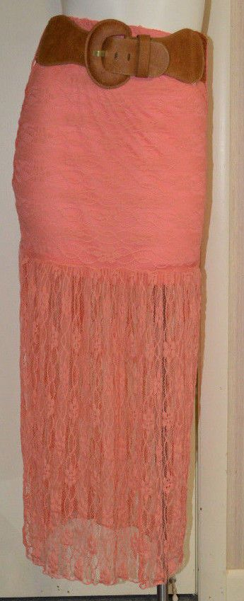 Women's Rue 21 Coral Floral Lace Overlay Skirt With Belt Juniors Sizes S, M #rue21 #StretchKnit