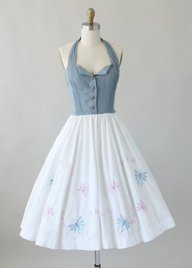 Vintage 1950s Embroidered Cotton Halter Sundress | Raleigh Vintage