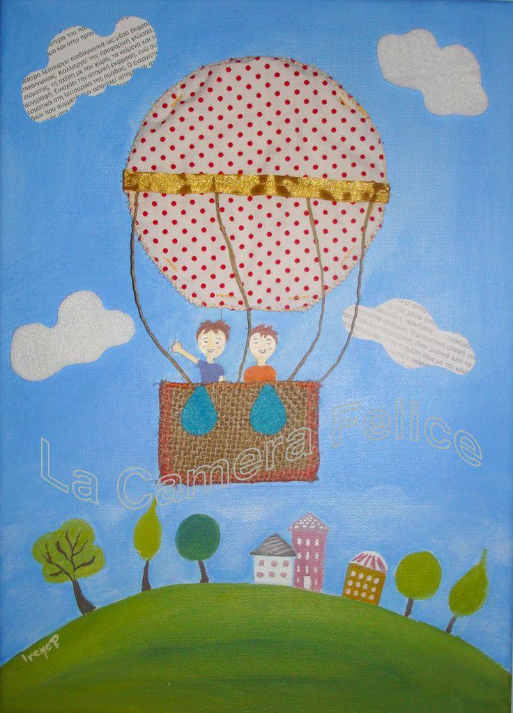 """Up and Away"" - #Mixedmedia #canvas #art - #AirBalloon - Materials: acrylics, burlap, fabric, felt, twine, newspaper, ribbon. #kidsroom #kidsdeco.   http://lacamerafelice.wix.com/lacamerafelice #wallart #kids"