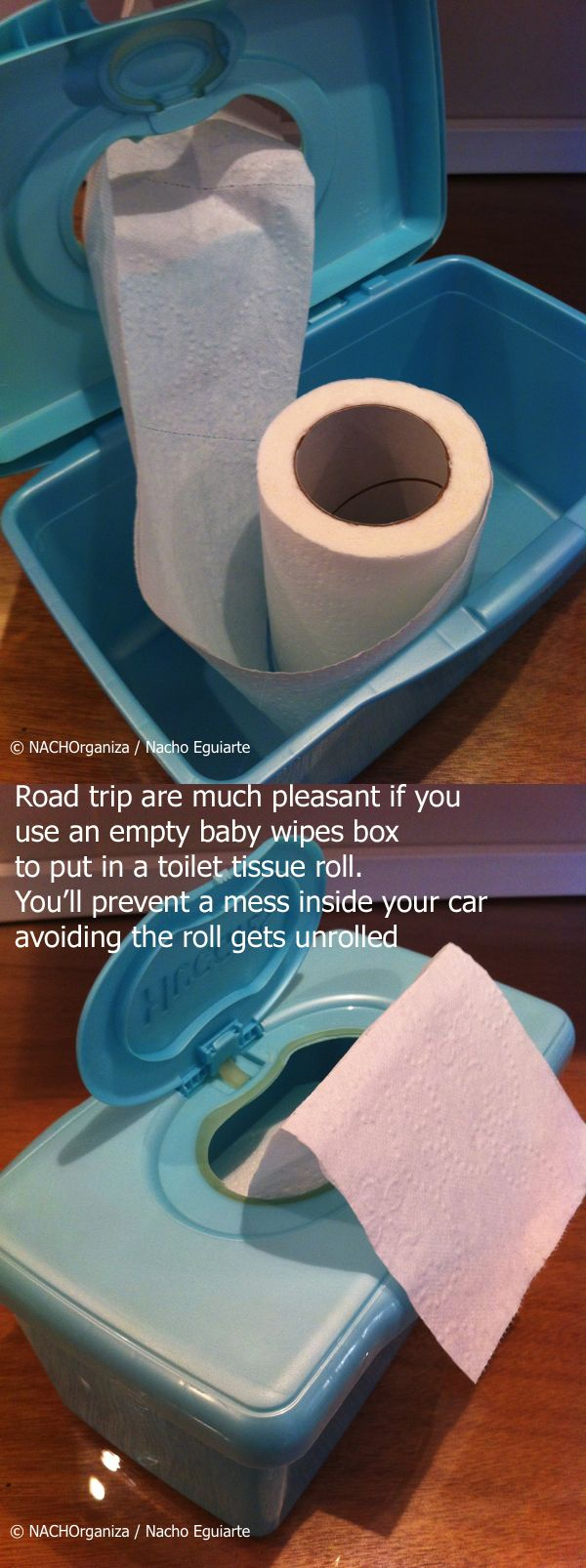 Road trip are much pleasant if you  use an empty baby wipes box  to put in a toilet tissue roll.  You'll prevent a mess inside your car  avoiding the roll gets unrolled    NACHOrganiza • Organization blog in spanish
