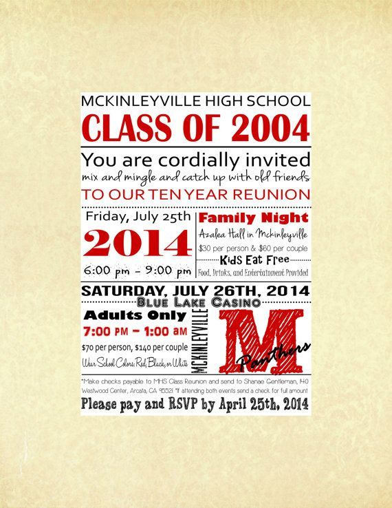 High School Reunion Invitation and RSVP card. Digital and Customizable ...