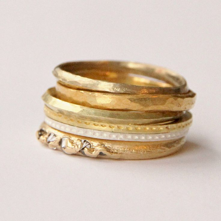 Recycled gold and vintage diamonds make a pretty stack