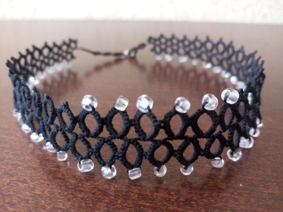 Black Tatted Choker with Glass Beads Romantic by EstaTatting
