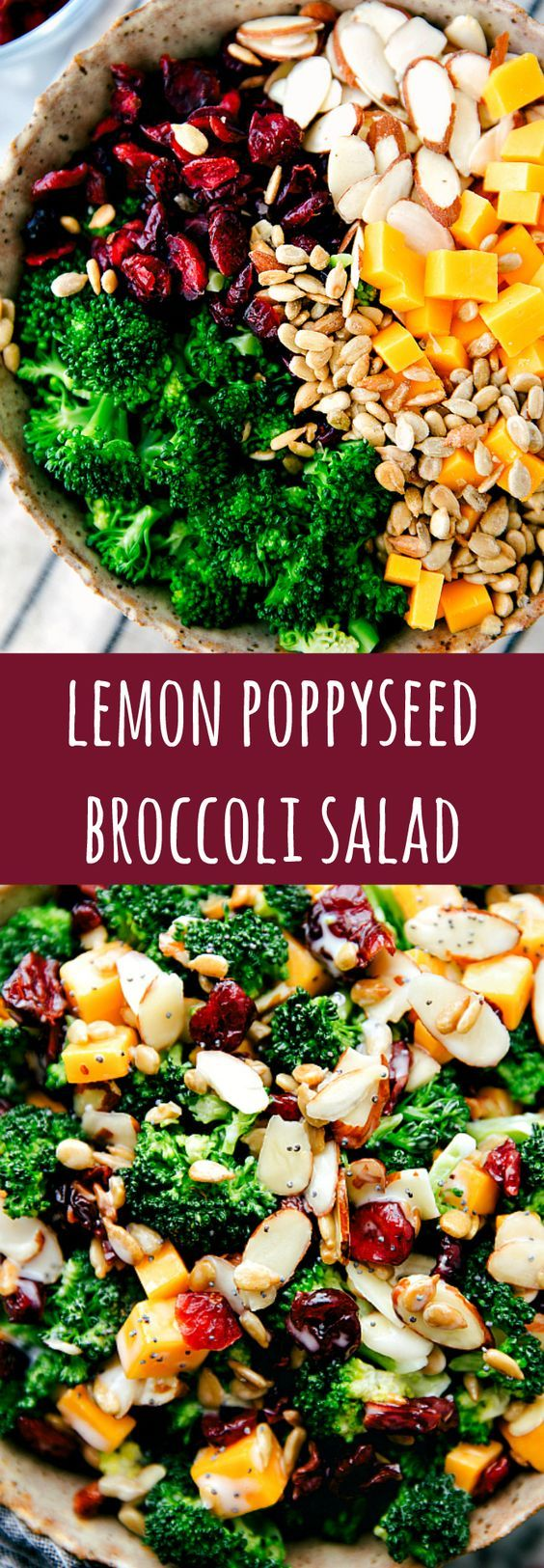A delicious, simple, and quick lemon poppyseed broccoli salad. Broccoli, dried cranberries, sunflower seeds, sharp cheddar cheese, and sliced almonds with a delicious creamy lemon poppyseed dressing.: