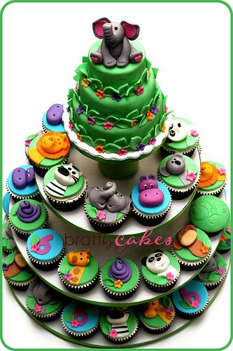 Zoo Party Cupcake Tower | Flickr - Photo Sharing!