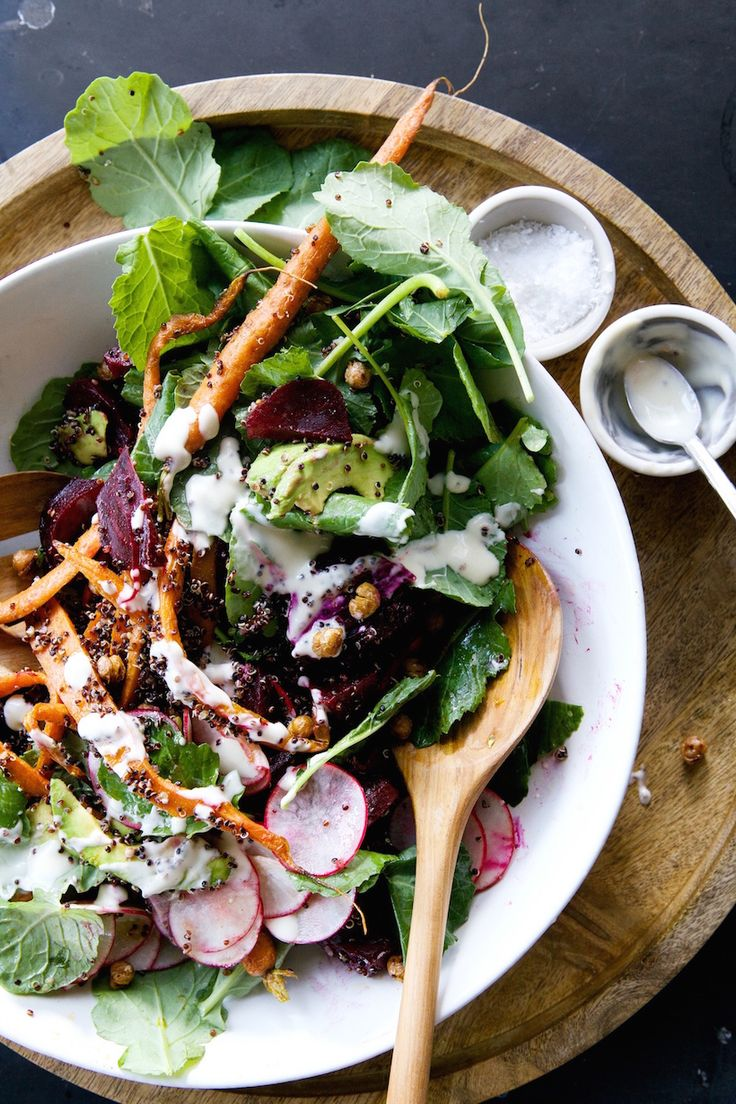 Root vegetable & quinoa salad with tahini-maple vinaigrette | camille styles.