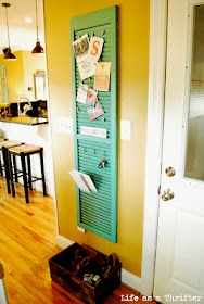 An at-the-door organizer.: Window Shutters, Doors, Old Shutters, Mail Center, Keys, Cute Ideas, Bulletin Boards, Mail Holders, House
