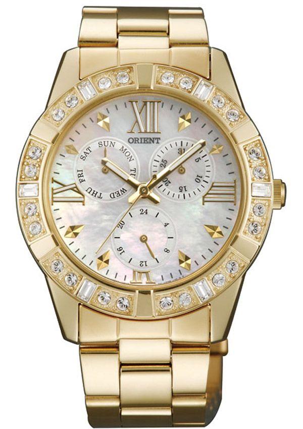 ORIENT Crystals Gold Stainless Steel Bracelet FUT0B003WO - E-oro.gr ORIENT ΓΥΝΑΙΚΕΙΑ ΡΟΛΟΓΙΑ