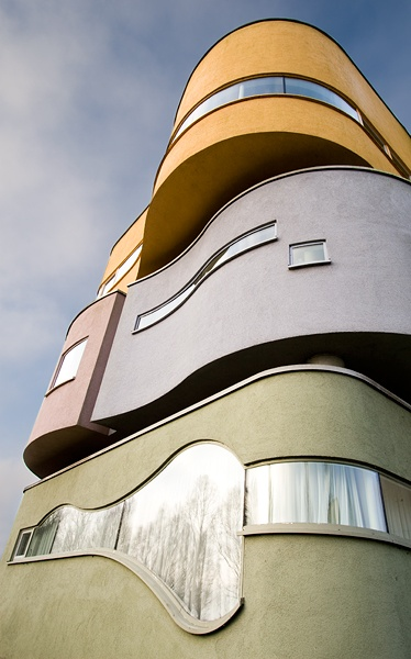 Wall House 2, originally designed by John Hejduk in the 1970s. Build in 2001 in the city of Groningen, the Netherlands.
