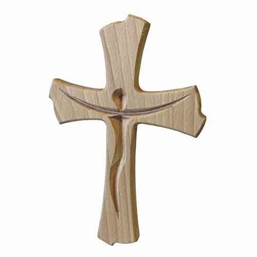 Kaltner Präsente - Regalo Idea - pared Cruz Crucifijo Cruz de madera de haya para la pared 20 cm Modern