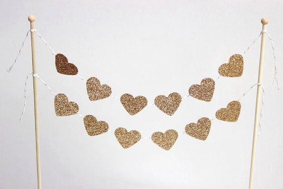 Cake Bunting/Cake Topper.Cake Banner, Hearts.  Double String of Hearts Gold Glitter. Wedding - Engagement - Anniversary.