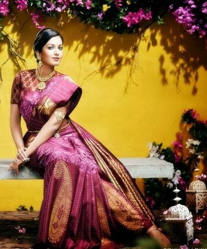 Pink and gold silk saree or sari with blouse and statement necklace