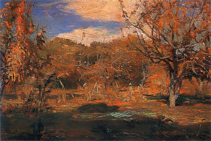 Jan Stanislawski - Orchard, 1899, oil on paperboard, 22 x 16 cm, MNK