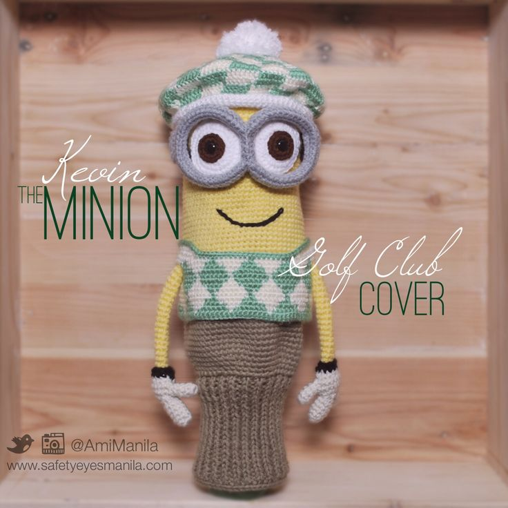 Kevin the Minion Golf Club Cover made with Red Heart Super Saver, Caron Simply Soft, Bernat Super Value & 12mm flat safety eyes.  He is made of 5 parts (body, hat, goggles, vest & lower sock-like part) using different crochet techniques including tapestry and knooking. He's stuffed from the top of his head til his eyes around the goggle straps. May be custom made to fit any club or driver.