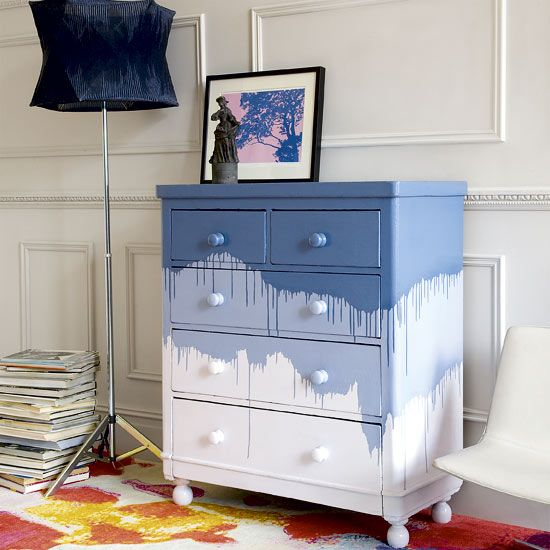 This chest of drawers isn't really wild, color-wise... but it's definitely not something you can buy at IKEA. Which is the whole point of decorating your home resale style!
