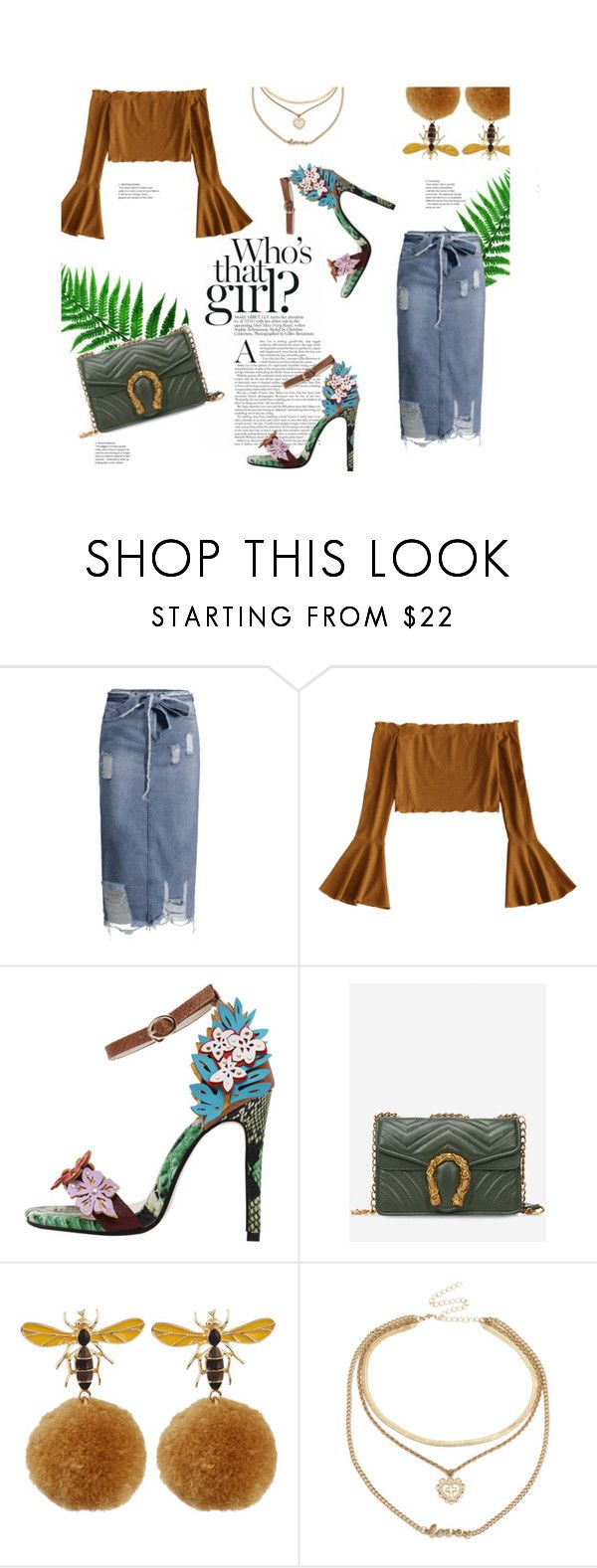 """""""Crop top"""" by stellina-from-the-italian-glam ❤ liked on Polyvore featuring denim, skirt, crop, top and zaful"""