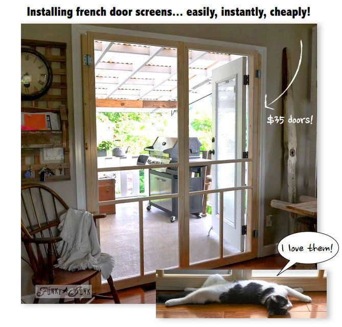 17 best images about decor doors repurposed on pinterest for Screen door ideas for french doors