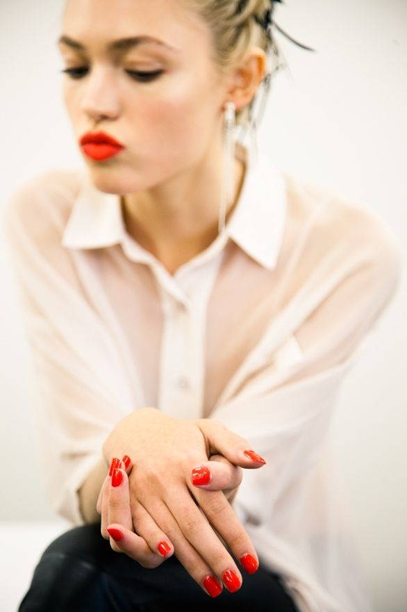 Red pout. Hot red nails: Red Lipsticks, Nails Colors, Hot Lips, White Shirts, Jason Wu, Bright Red Nails, Orange Lips, Nails Polish, Red Accent