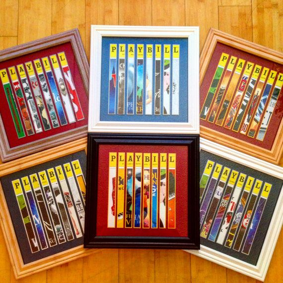 Cool idea to do with all the plays the kids went to.  Custom Broadway Playbill Framed Art Collage by TheArtofBroadway