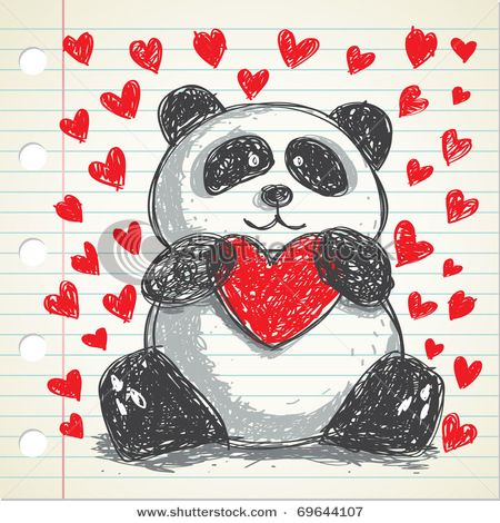 Panda Hugging heart doodle