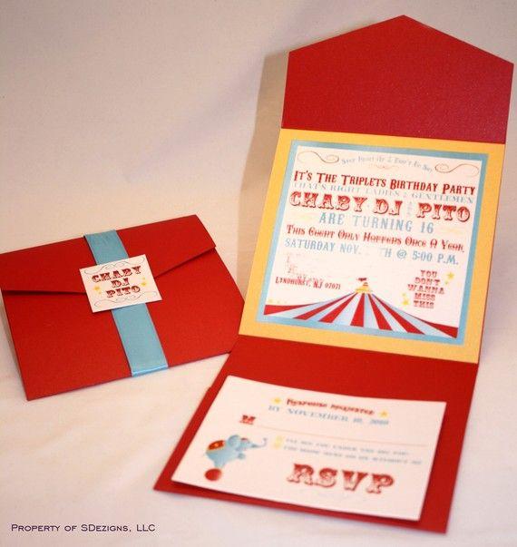 RESERVED LISTING for Natasha  Circus or Carnival Theme Birthday Invitations via Etsy