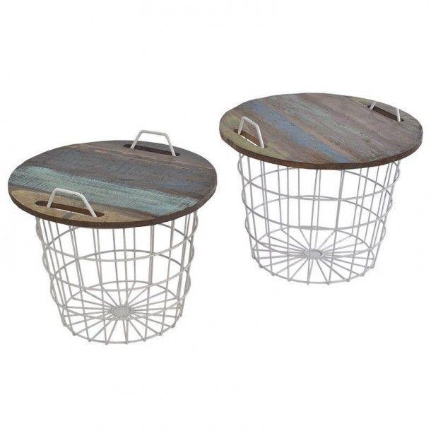 Τραπέζι/καλάθι ξύλινο/μεταλλικό σε χρώμα καφέ - λευκό, σετ 2 τεμαχίων - Διαστάσεις: 60x50εκ.