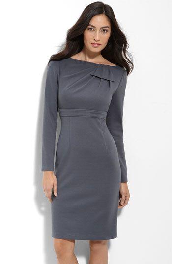 118 Adrianna Papell Draped Panel Ponte Knit Sheath Dress
