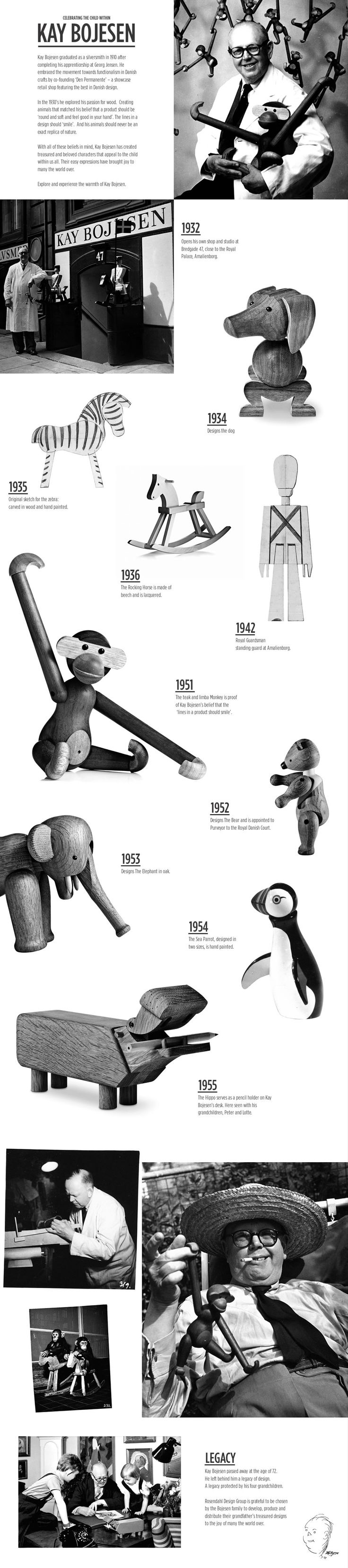 """Celebrating the Child Within"": wooden animals and toys by Kay Bojesen (Denmark). ""Creating animals that matched his belief that a product should be 'round and soft and feel good in your hand'. The lines in a design should 'smile'. And his animals should never be an exact replica of nature."""