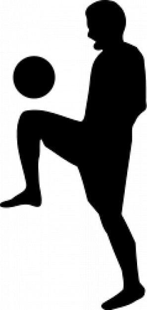 Silueta de futbolista con el balón. Fondo blanco.