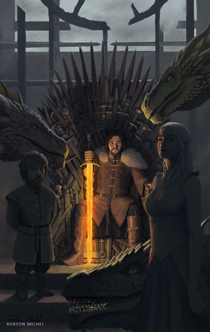 The Dragon has Three Heads: Terrific Illustration of Jon, Tyrion and Dany by Robson Michel GOT items here
