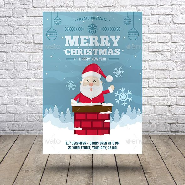 Christmas New Year Flyer Template Vector EPS, AI Illustrator