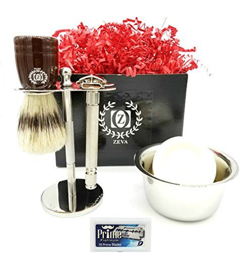 Zeva 6 Piece Shave Set In Silver for Men Complete Wet Kit   Includes Items: One Safety Razor Badger Hair Brush Soap Stainless Steel Bowl and Razor Blades Shaving Set Holder Stand Soap  Zeva 6 Piece Shave Set In Silver for Men Complete Wet Kit   Includes Items: One Safety Razor Badger Hair Brush Soap Stainless Steel Bowl and Razor Blades Shaving Set Holder Stand Soap  BUY NOW  $44.99    ZEVA 6PCS COMPLETE SHAVING GIFT SET SAFETY RAZOR WITH FREE BLADES REPLACEMENTS  Why is Shaving with a…
