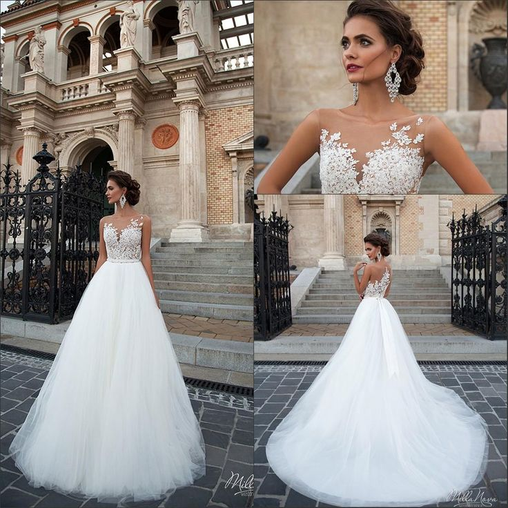 2016 New Elegant Vintage Illusion Lace A Line Wedding Dresses Tulle Lique Floor Length