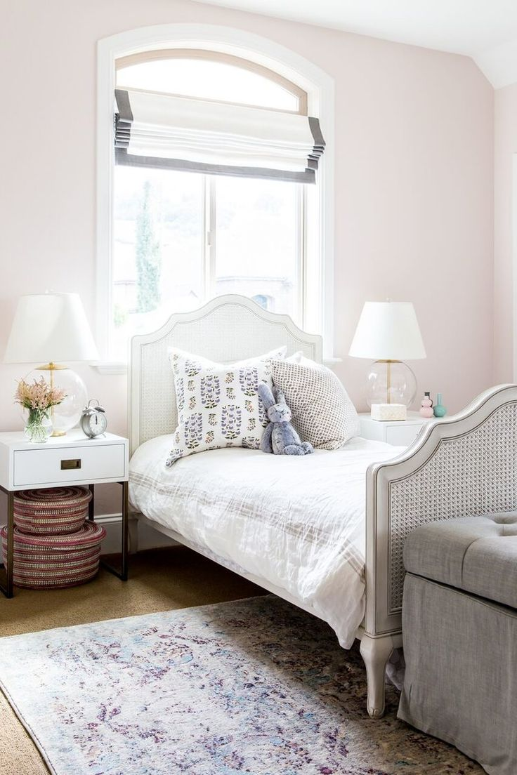 Foothill Drive Project: Kids' Rooms With the room's natural light, we created an airy feel starting with the wall color. It's the softest pink called Melted Ice Cream from Benjamin Moore.