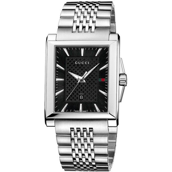 Gucci Mens Stainless Steel Square Watch with Bracelet (£655) ❤ liked on Polyvore featuring jewelry, watches, silver, bezel watches, stainless steel bracelet, gucci watches, stainless steel jewelry and bracelet wrist watch