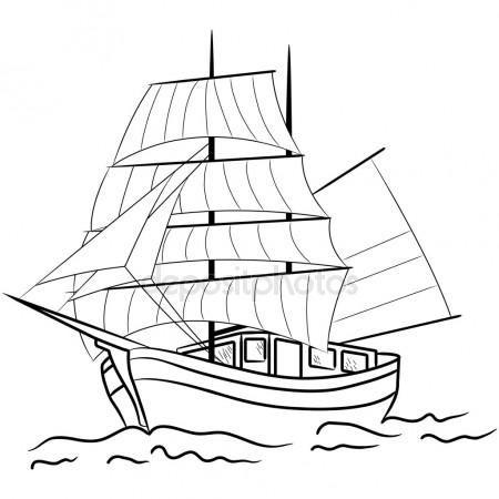 Letöltés - Vázlat, tengeri vitorlás hajó — Stock Illusztráció #11587201