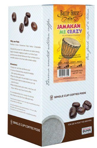 Barrie House Jamaican Me Crazy Coffee, Single Cup Pods / 14 Coffee Pods Per Box - http://thecoffeepod.biz/barrie-house-jamaican-me-crazy-coffee-single-cup-pods-14-coffee-pods-per-box/