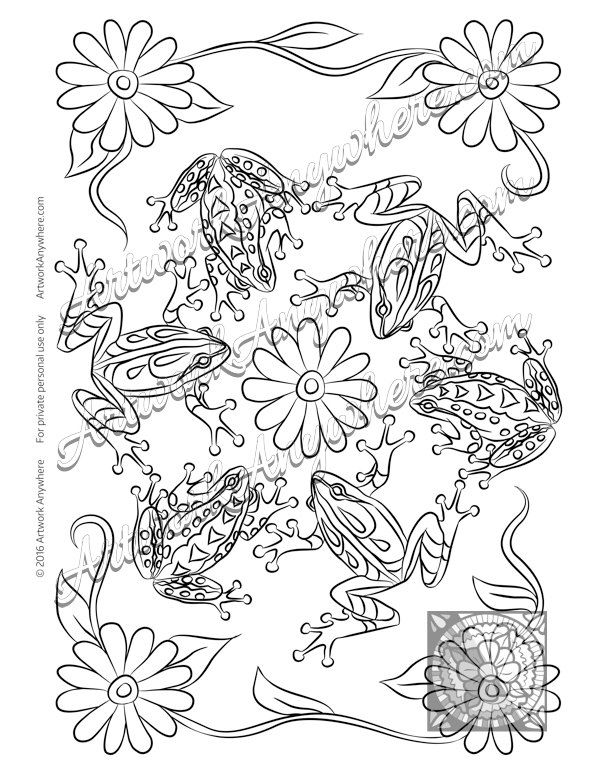 Lizards Turtles And Frogs Cute With Flowers Adult Coloring Page Printable