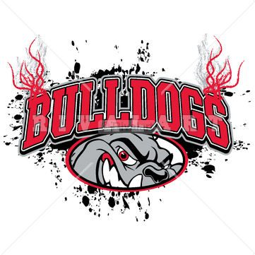 Mascot Clipart Image of Bulldogs Mascot Logo Arched Text