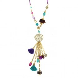 Collar y Aretes con Dije de Corazón y Cadenas en Piedras Multicolor