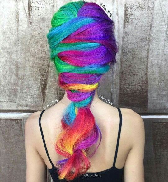 Rainbow dyed hair color by Guy Tang