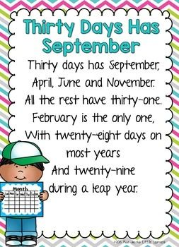 This poem has been around for decades! Now you can print (and enlarge to A3 if you like) and display it in your room to help your little ones learn how many days there are in each month :)*********************************************************************For more teaching ideas, freebies and resources, click on the Follow Me at the top of this page as well as:Little Learners BlogLittle Learners Facebook PageLittle Learners on PinterestLittle Learners on Instagram