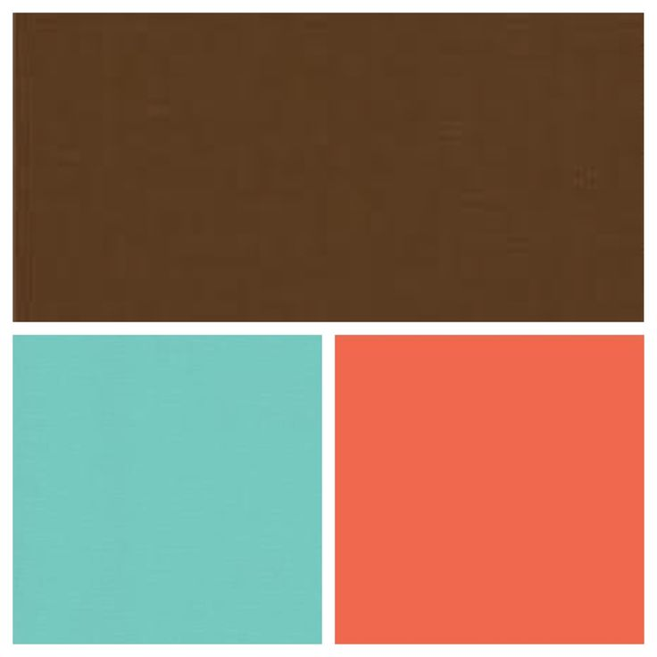 Coral, Tiffany blue, and brown. Cute!