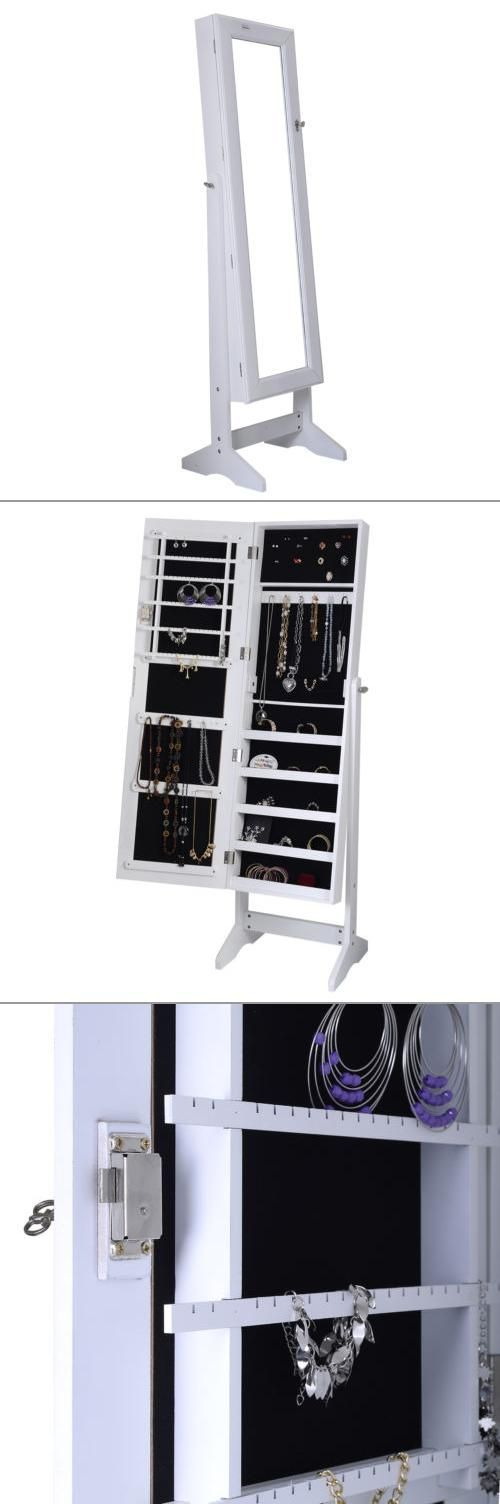 We have found the perfect organizer to keep all your jewelry safe and in one convenient place! A free-standing jewelry armoire takes up little space, will allow you to see all your items at a single glance, and has a full body mirror attached to the front door!