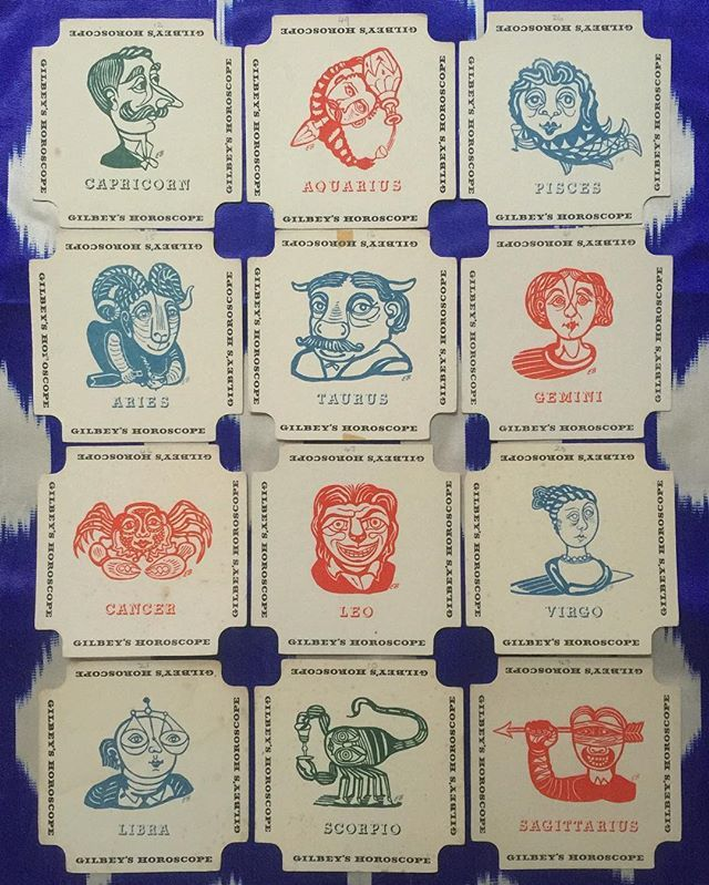 A set of Edward Bawden Gilbey's Gin coasters from 1954 (via Tanner & Lawson)