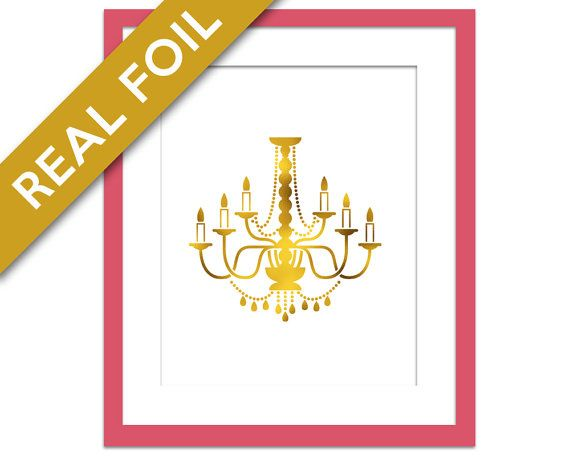 Chandelier Print - Gold Foil Print - Kitchen Wall Art - Chandelier Silhouette - Gold Dining Room Decor - Candle Poster - Gold Silver Copper