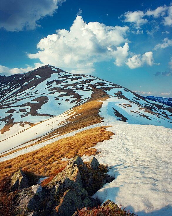 | Take only memories leave only footprints.  Chief Seattle   | #mountain range in early #spring. Spots snow beautiful #clouds in the #sky and a good light. Ukraine