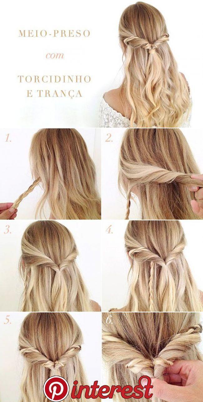 Half Stucco Hairstyle Tutorial With Twist And Braid Today Pin Geflochtene Frisuren Haarzopfe Frisuren Tutorial