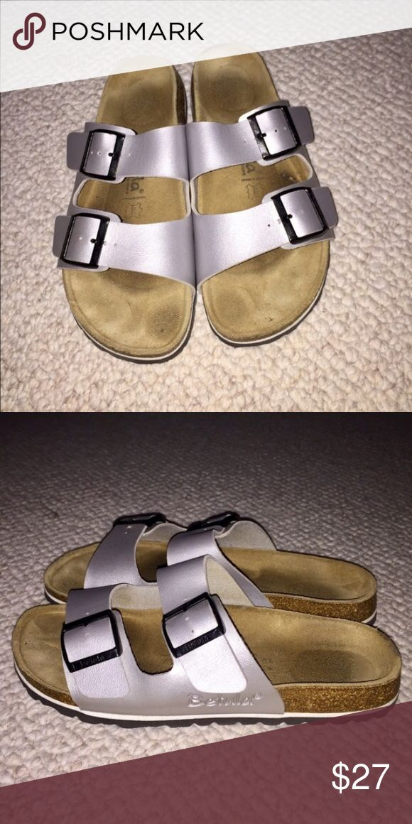 Silver Birkenstock Betula Sandals Silver Birkenstock Betula Sandals//Bought on here but too big//Size 9//Fit 9-10// Birkenstock Shoes Sandals