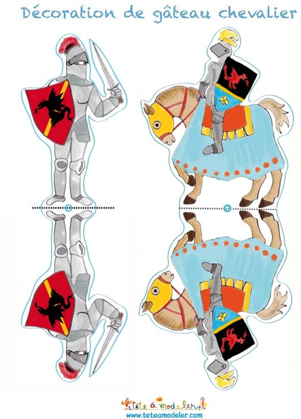 Décoration chevalier à cheval et à pieds - Tête à modeler
